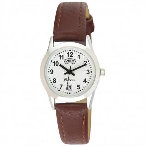Women's Day-Date Strap Watch - Brown / Silver Tone