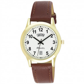Men's Day-Date Strap Watch - Brown / Gold Tone