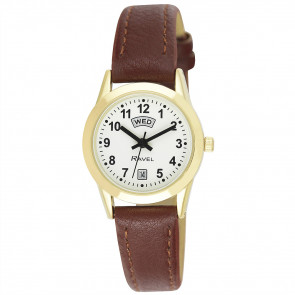 Women's Day-Date Strap Watch - Brown / Gold Tone