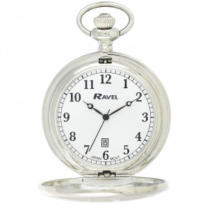 Full-Hunter Calendar Pocket Watch with Chain - Silver Tone