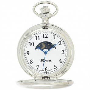 Full-Hunter Moon-Phase Pocket Watch with Chain - Silver Tone