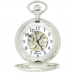Polished Mechanical Skeleton Pocket Watch - Silver Tone