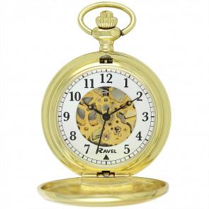 Polished Mechanical Skeleton Pocket Watch - Gold Tone