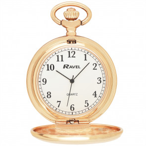 Full-Hunter Pocket Watch with Chain - Rose Gold Tone