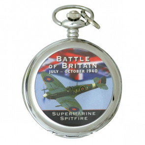Silver Tone Battle of Britain Commemorative Pocket Watch - Spitfire