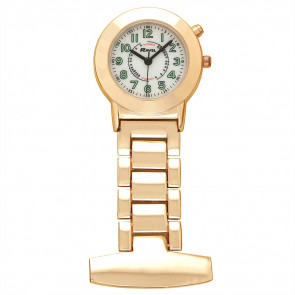 Nurse Classic Fob Watch with EL Backlight - Rose Gold Tone