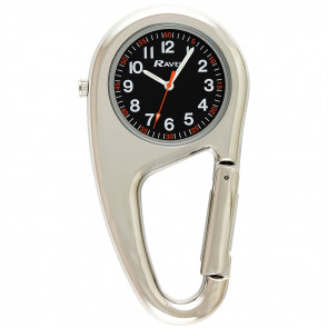 Belt Clip Watch - Silver Tone / Black