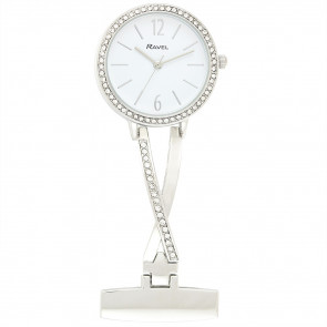 Nurse's Stone-Set Fob Watch - Silver Tone