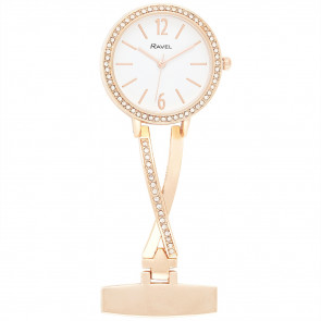 Nurse's Stone-Set Fob Watch - Rose Gold Tone