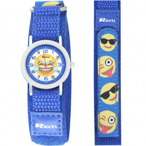 Kids Easy Fasten Emoticon Watch - Blue