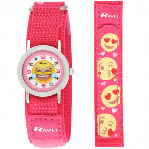 Kids Easy Fasten Emoticon Watch - Pink