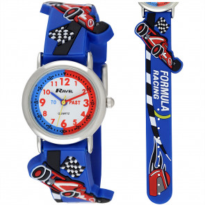Kid's Time-Teacher Watch - Blue Racing Car