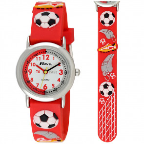 Kid's Time-Teacher Watch - Red Football