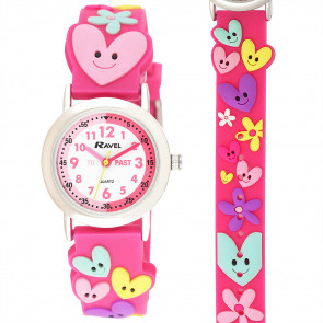 Kid's Time-Teacher Watch - Hearts and Flowers