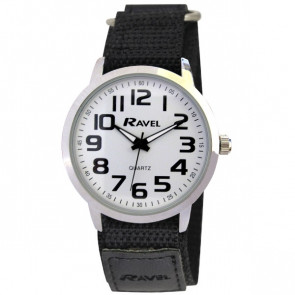 Easy Fasten Sports Watch - Black / Silver Tone / White