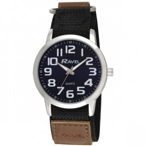 Easy Fasten Sports Watch - Black / Silver Tone / Blue