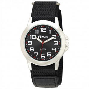 Easy Fasten Action Watch - Black / Silver Tone