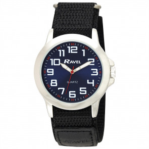 Easy Fasten Action Watch - Black / Silver Tone / Blue