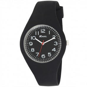 Large Comfort Fit Silicone Watch - Black