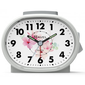Picture Dial Alarm Clock - Foral White
