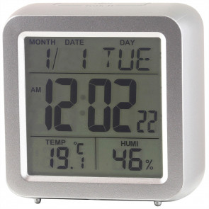Multifunction Digital Cube Clock - Silver Colour