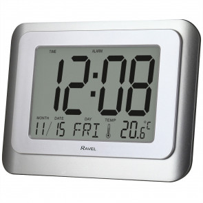 Wall/Desk Jumbo Digital Alarm Clock - Silver/White