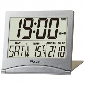 Digital Travel Flip Alarm Clock - Silver