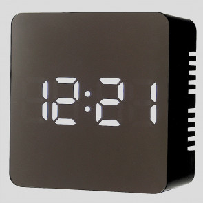 Mirror Finish LED Alarm Clock with USB adapter - Black