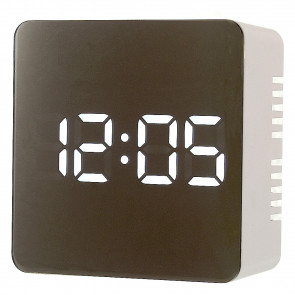 Mirror Finish LED Alarm Clock with USB adapter - White