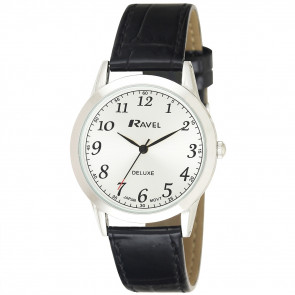 Men's Classic Leather Watch - Black / Silver Tone