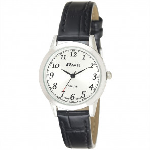 Women's Classic Leather Watch - Black / Silver Tone