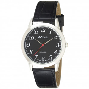 Men's Classic Leather Watch - Black