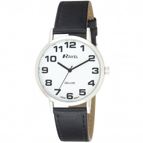Men's Classic Easy Read Leather Watch - Black / Silver Tone / White