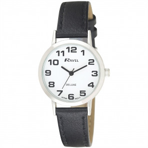 Women's Classic Easy Read Leather Watch - Black / Silver Tone / White