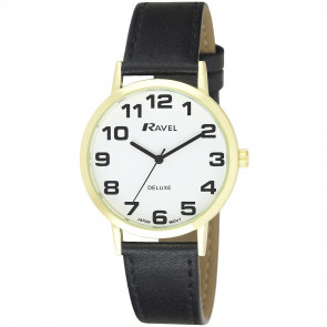 Men's Classic Easy Read Leather Watch - Black / Gold Tone / White