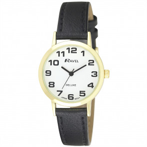 Women's Classic Easy Read Leather Watch - Black / Gold Tone / White