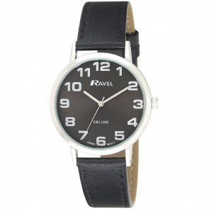 Men's Classic Easy Read Leather Watch - Black / Silver Tone / Black