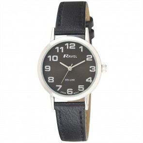 Women's Classic Easy Read Leather Watch - Black / Silver Tone / Black