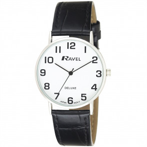 Men's Classic Croc-Grain Leather Strap Watch - Black / Silver Tone / White