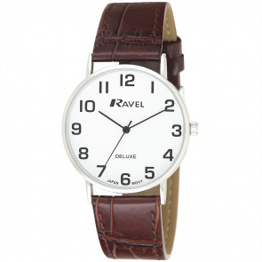 Men's Classic Croc-Grain Leather Strap Watch - Brown / Silver Tone / White