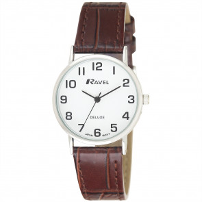 Women's Classic Croc-Grain Leather Strap Watch - Brown / Silver Tone / White