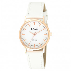 Women's Minimal Leather Watch - White / Rose Gold Tone