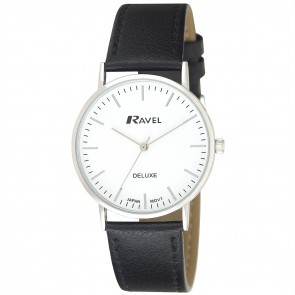 Men's Minimal Leather Watch - Black / Silver Tone / White
