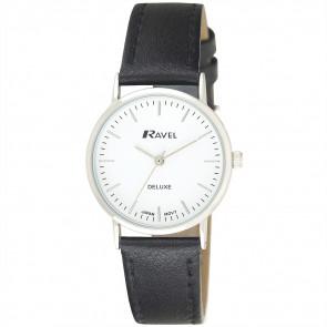 Women's Minimal Leather Watch - Black / Silver Tone / White