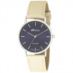 Men's Minimal Leather Watch - Stone / Silver Tone / Blue
