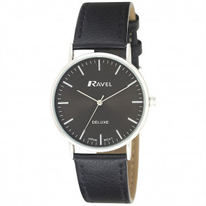 Men's Minimal Leather Watch - Black