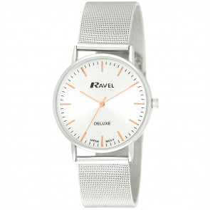 Men's Minimal Mesh Watch - Silver Tone / Rose Gold