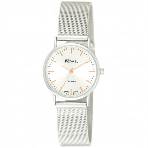 Women's Minimal Mesh Watch - Silver Tone / Rose Gold
