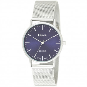Men's Minimal Mesh Watch - Silver Tone / Blue