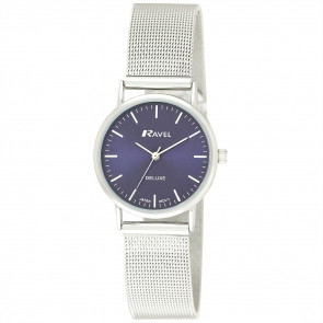 Women's Minimal Mesh Watch - Silver Tone / Blue